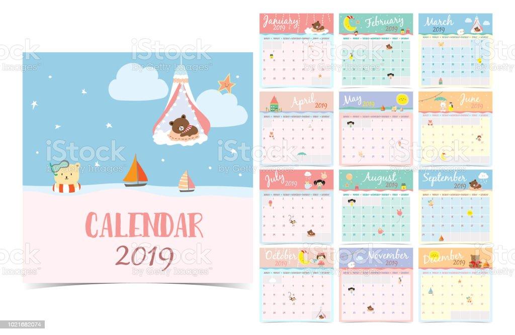 かわいいマンスリー カレンダー 2019 クマ、少女、ウサギ、猿、羊、星、雲、月し、気球します。印刷や web、バナー、ポスター、ラベル使用にすることができます。 ベクターアートイラスト