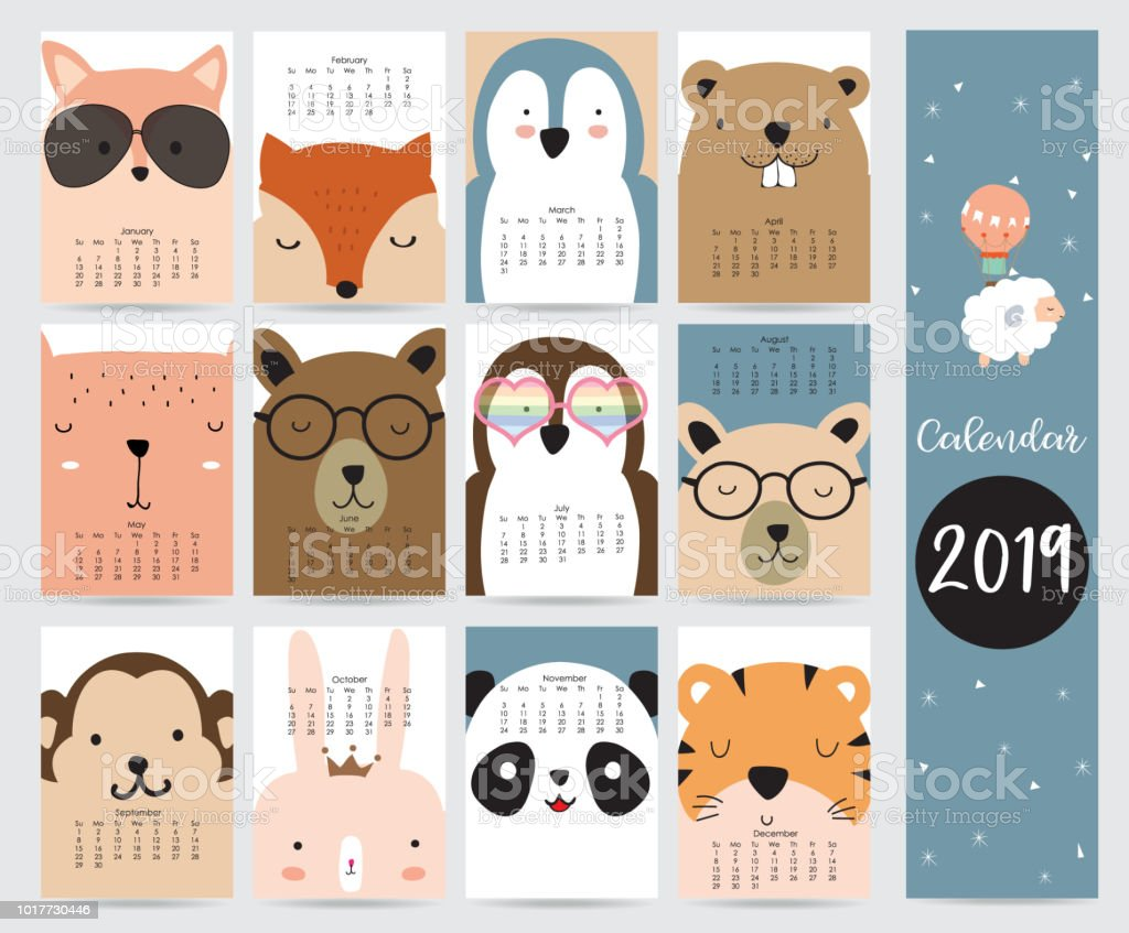 Cute monthly calendar 2019 with fox,bear,penguin,rabbit,tiger,panda,monkey,squirrel and glasses.Can be used for web,banner,poster,label and printable vector art illustration