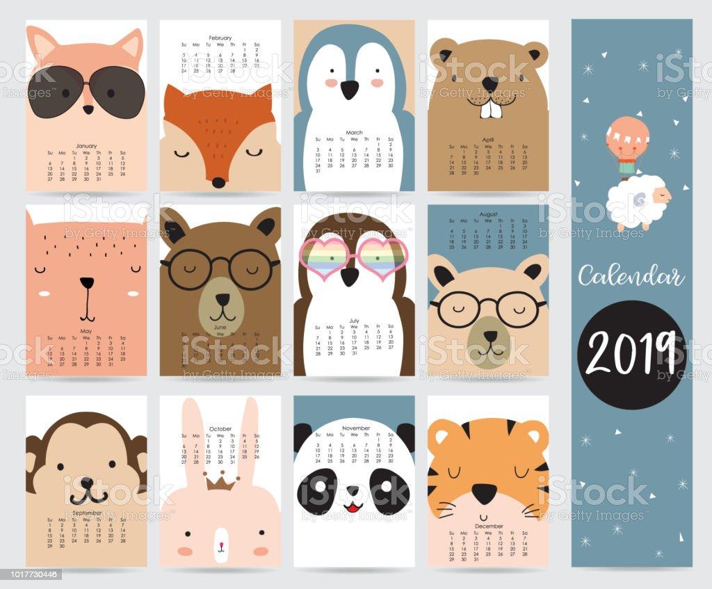 Niedliche Monatskalender 2019 mit Fuchs, Bär, Pinguin, Hase, Tiger, Panda, Affe, Eichhörnchen und Gläser. Kann zum ausdrucken und für Web, Banner, Poster, Aufkleber verwendet werden – Vektorgrafik