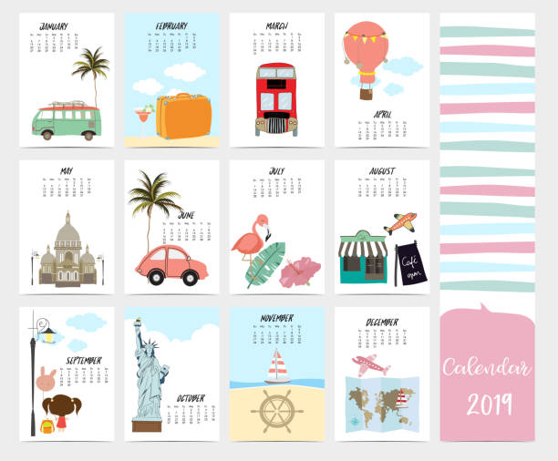 Cute monthly calendar 2019 with beach,sea,van,Statue of Liberty,Taj Mahal for children.Can be used for web,banner,poster,label and printable Cute monthly calendar 2019 with beach,sea,van,Statue of Liberty,Taj Mahal for children.Can be used for web,banner,poster,label and printable holiday calendars stock illustrations