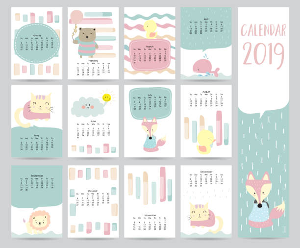 cute monthly calendar 2019 with bear,cat,fox,whale,cat and lion for children.can be used for web,banner,poster,label and printable - animals calendar stock illustrations