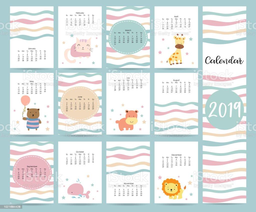 Cute Monthly Calendar 2019 With Bearcatgiraffehippopotamuslionwhale