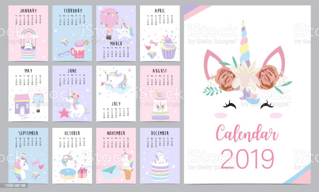 Cute Monthly Calendar 2019 With Head