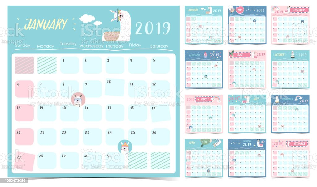 Cute Monthly Calendar 2019 With Llamarainbowcactusglassesheartstar