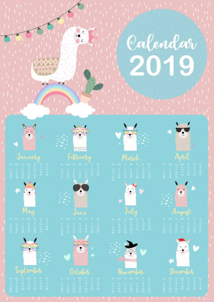 cute monthly calendar 2019 with llama,rainbow,cactus,glasses,heart,star for children.can be used for web,banner,poster,label and printable - animals calendar stock illustrations, clip art, cartoons, & icons