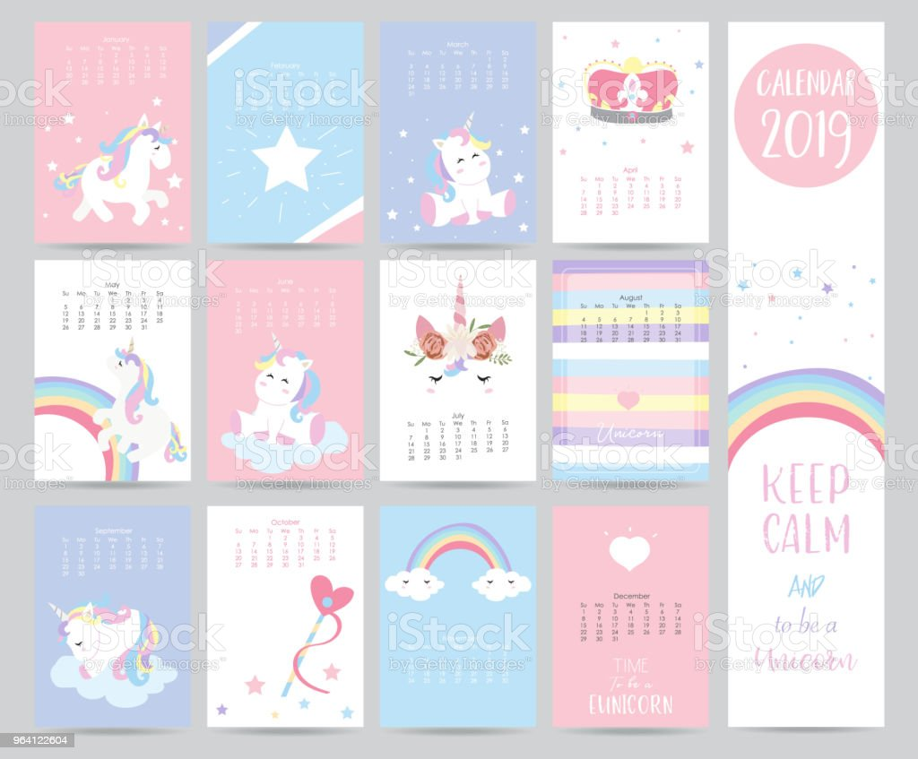Cute Monthly Calendar 2019 With Sweet Unicorncrownheart And Wreath