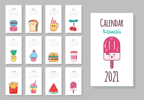 Cute monthly calendar with food objects, fruits, ice cream, coffee, french fries