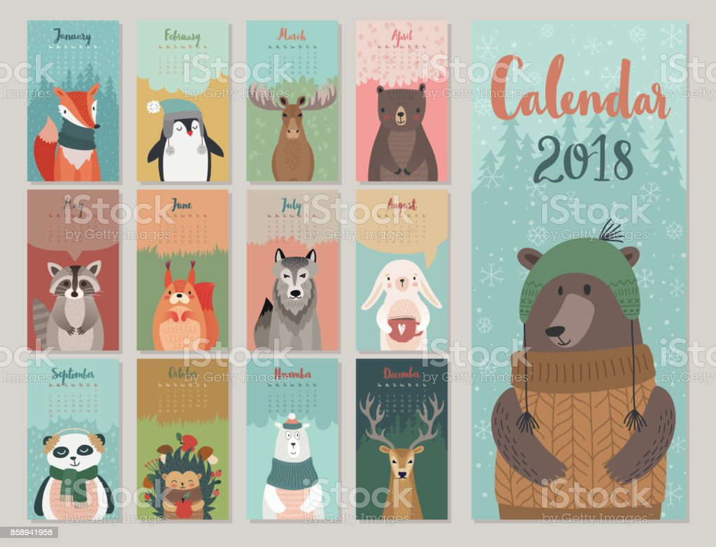 Cute monthly calendar with forest animals. vector art illustration