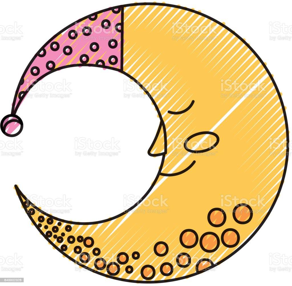 帽子を眠っているとかわいい月 いたずら書きのベクターアート素材や