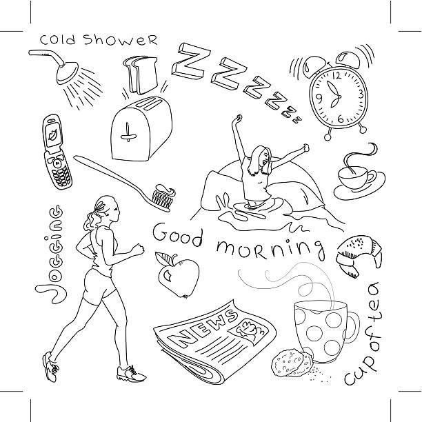 Cute morning doodles vector art illustration