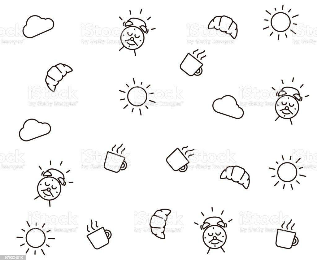 かわいい朝のシームレスなパターン背景ベクトルの壁紙イラストの雲太陽マグカップやクロワッサンなどの朝食要素アラーム時計幸せな文字笑顔します いたずら書きのベクターアート素材や画像を多数ご用意 Istock