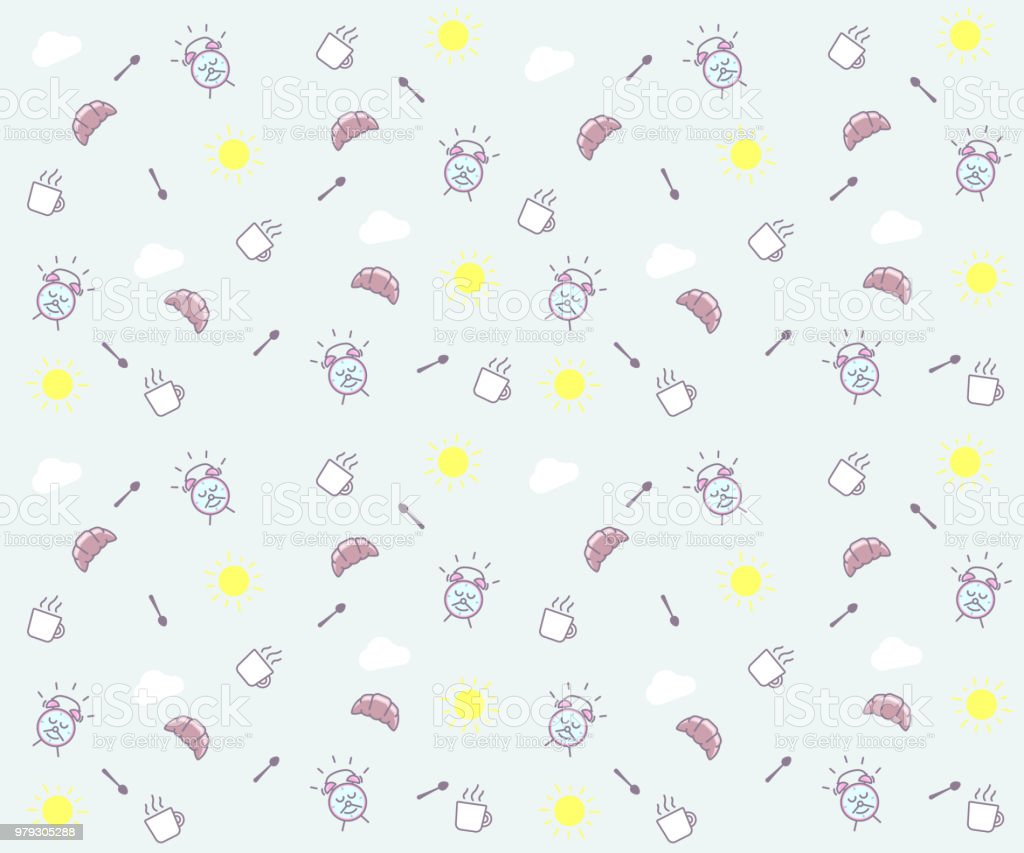 Cute Morning Seamless Pattern Background Vector Wallpaper Illustration With Clouds The Sun Breakfast