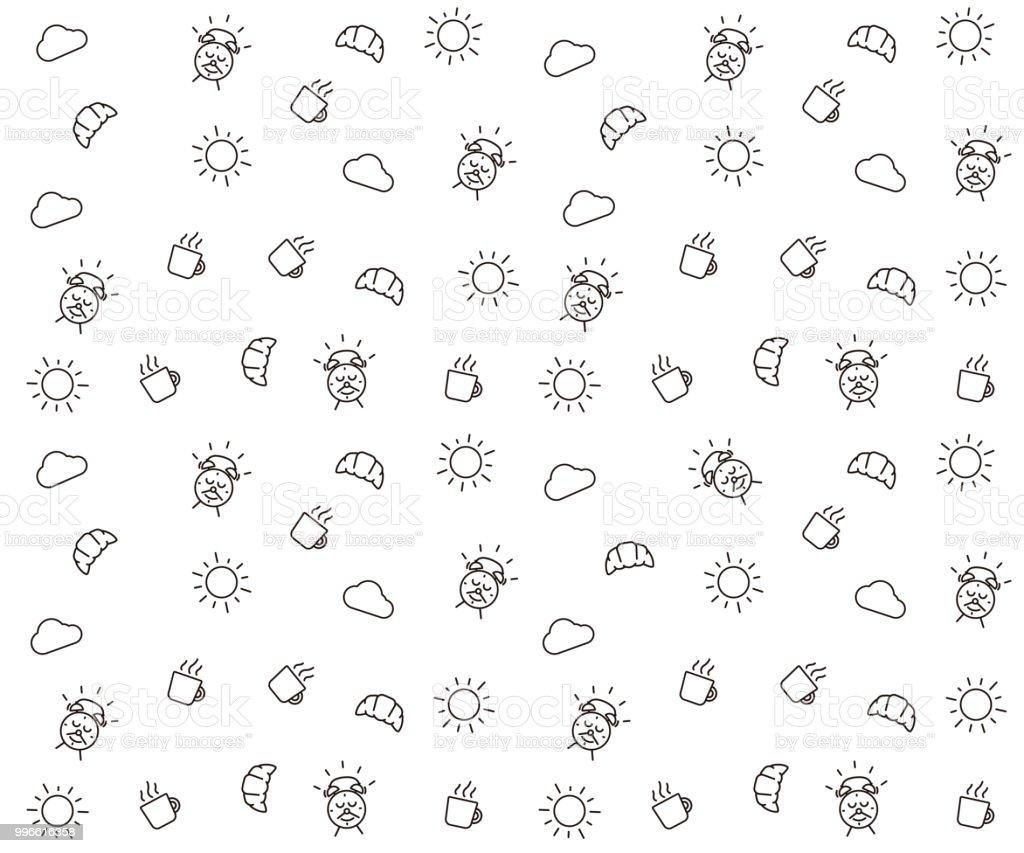 Cute Morning Seamless Pattern Background Vector Wallpaper