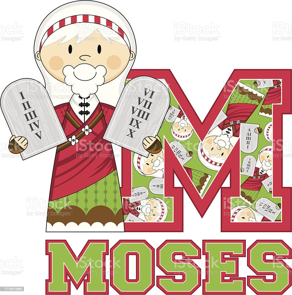 Cute Moses Learning Letter M royalty-free stock vector art
