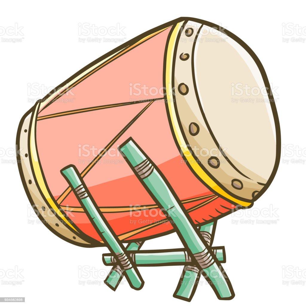 Cute mosque drum vector art illustration