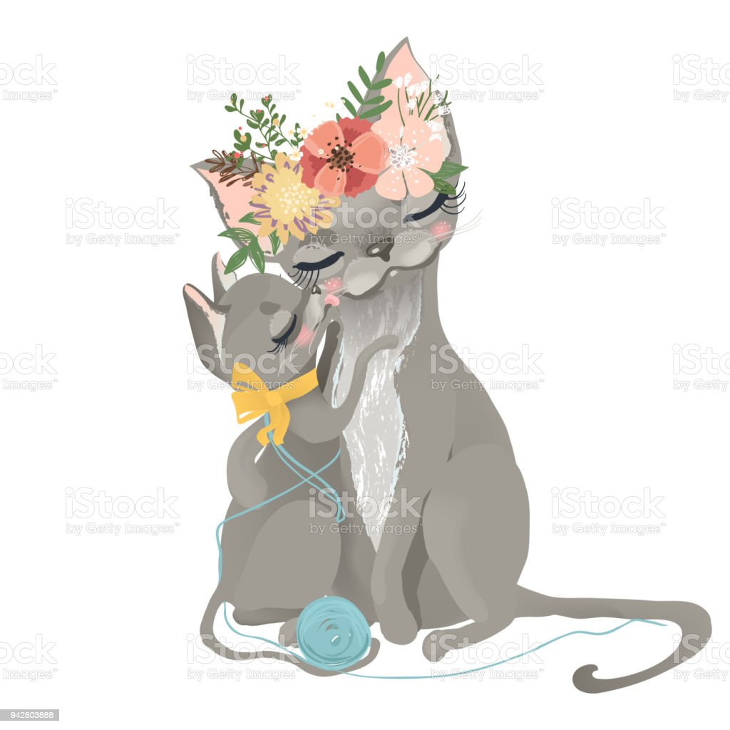 Cute mother cat, kitty in flowers, floral wreath, bouquet, yarn balls and tied bow with her kitten vector art illustration