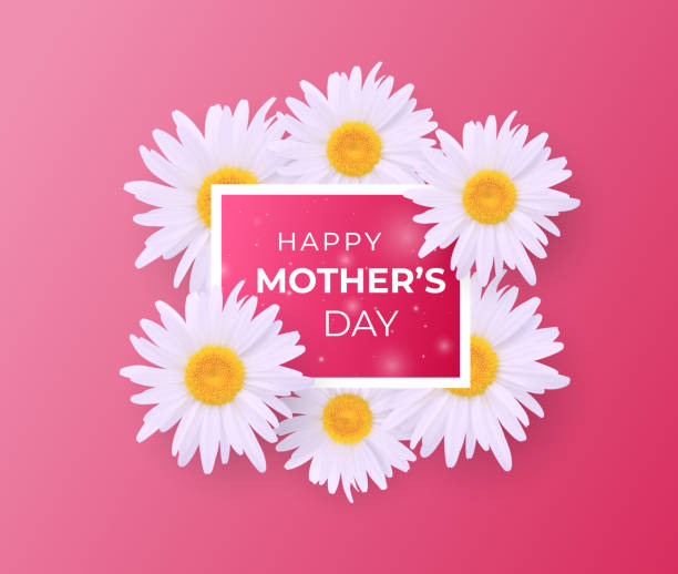 Cute Mother day invitation with bouquet of daisies vector art illustration