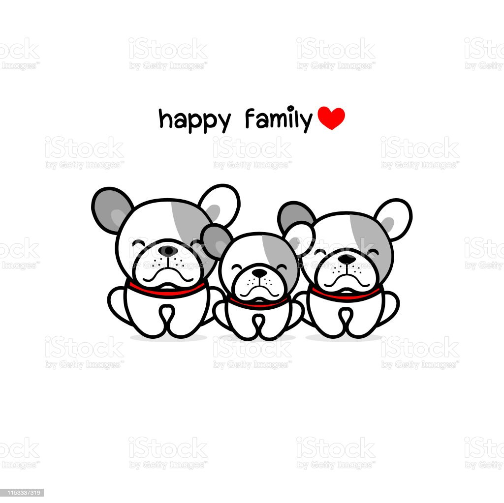 Cute mother father and baby dog. Happy animal family cartoon vector...