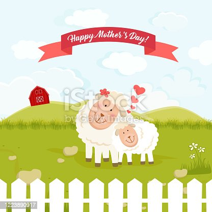istock Cute Mother Sheep and Lamb Showing Love and Affection 1223890917