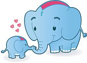 cute Motherelephant with Baby.