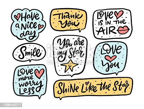 istock Cute motivational doodle phrases set. Handwritten calligraphy style. Quote in frames. 1296440217