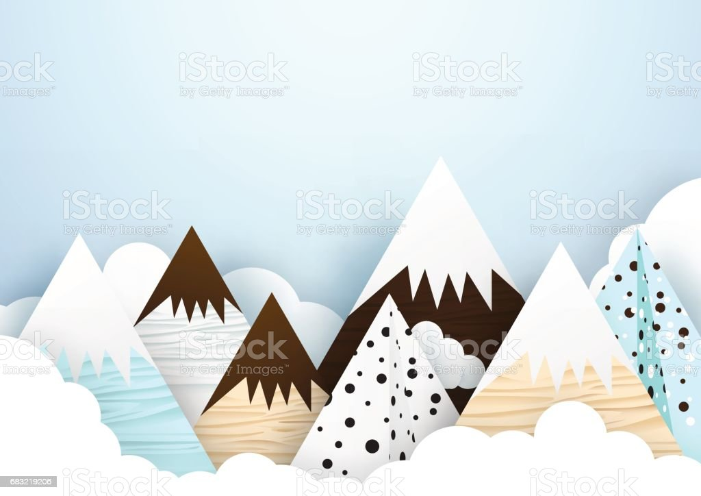 Cute mountain and cloud background. Paper art and origami style ロイヤリティフリーcute mountain and cloud background paper art and origami style - イラストレーションのベクターアート素材や画像を多数ご用意
