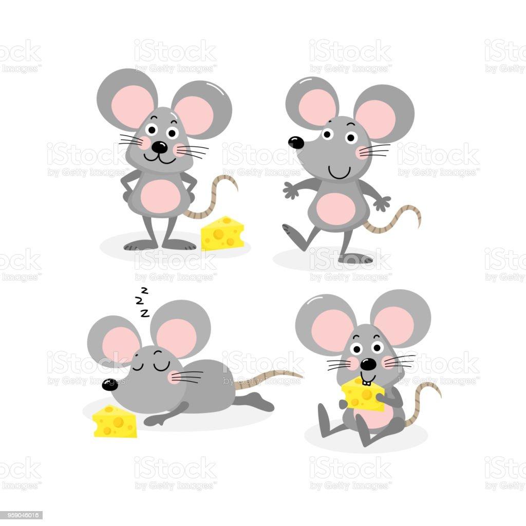 かわいいネズミとチーズのベクトルのセット おもちゃのベクターアート