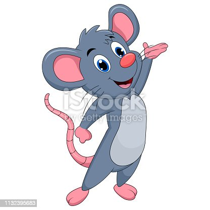 istock Cute mouse cartoon presenting 1132395683