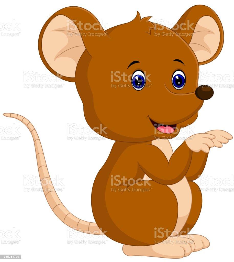 Cute mouse cartoon vector art illustration