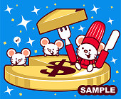 Unique Characters Full Length Vector Art Illustration. Cute mouse chef holding fork and knife cutting a slice of dollar sign currency cheesecake.