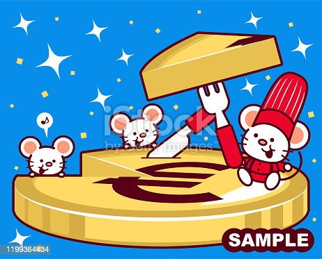 Unique Characters Full Length Vector Art Illustration. Cute mouse chef holding fork and knife cutting a slice of euro sign (European Union Currency) cheesecake.
