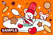 Unique Characters Full Length Vector Art Illustration. Cute mouse chef on big empty plate holding a spoon surrounded by sweet candy and cookie.