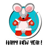 Cute mouse dressed in mittens and socks isolated on white background. Creative character  for 2020 New Year. Rat symbol of the year in the Chinese calendar. Vector illustration. Funny design