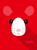 Cute mouse face icon, vector illustration