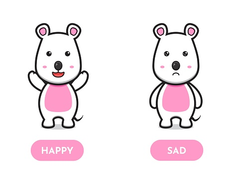 Cute mouse happy and sad opposite card cartoon vector icon illustration.