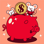 Unique Characters Full Length Vector Art Illustration. Cute mouse putting a large dollar sign coin currency into a piggy bank Year Of The Rat Happy Chinese New Year.