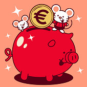 Unique Characters Full Length Vector Art Illustration. Cute mouse putting a large euro sign coin (European Union Currency) into a piggy bank Year Of The Rat Happy Chinese New Year.