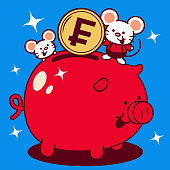 Unique Characters Full Length Vector Art Illustration. Cute mouse putting a large franc sign coin (French Currency) into a piggy bank Year Of The Rat Happy Chinese New Year.