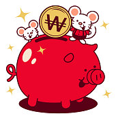 Unique Characters Full Length Vector Art Illustration. Cute mouse putting a large won sign coin (Korean Currency) into a piggy bank Year Of The Rat Happy Korean New Year.