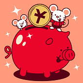 Unique Characters Full Length Vector Art Illustration. Cute mouse putting a large yuan sign coin (Chinese Currency) into a piggy bank Year Of The Rat Happy Chinese New Year.