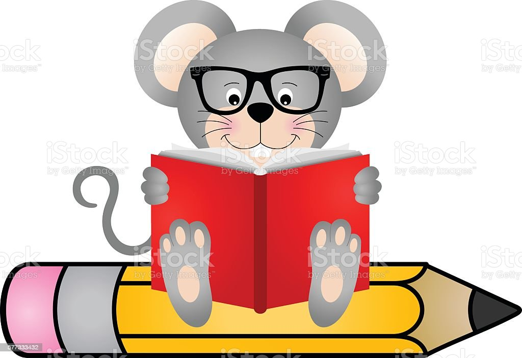 cute mouse reading book sitting on pencil stock vector art more rh istockphoto com reading books clip art reading book clipart png