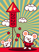 Unique Characters Full Length Vector Art Illustration. Cute mouse set off firecracker, Year Of The Rat Happy Chinese New Year.