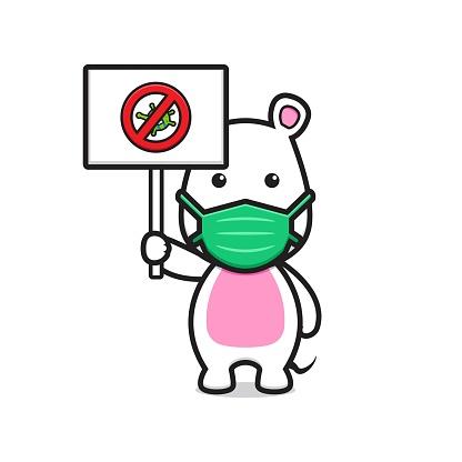 Cute mouse wearing mask stop coronavirus cartoon vector icon illustration.