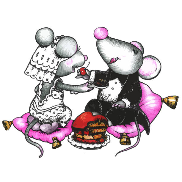 süße mouses in love - herzkissen stock-grafiken, -clipart, -cartoons und -symbole