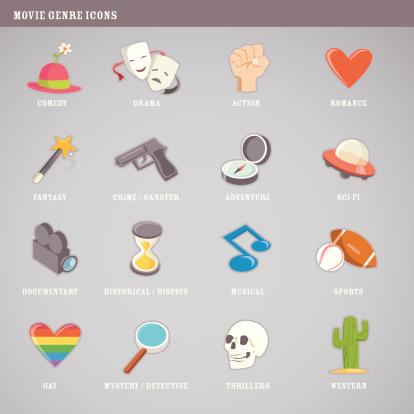 Cute movie genre icons