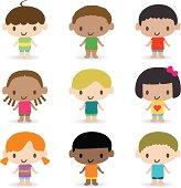 Vector illustration - Cutest Multi Ethnic Kids. Happy children spread giggles and love around the world.