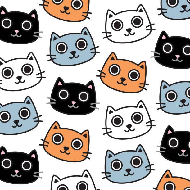 stockillustraties, clipart, cartoons en iconen met leuk veelkleurig beeldverhaalkattenpatroon. hand getekend digitaal ontwerp - miauwen