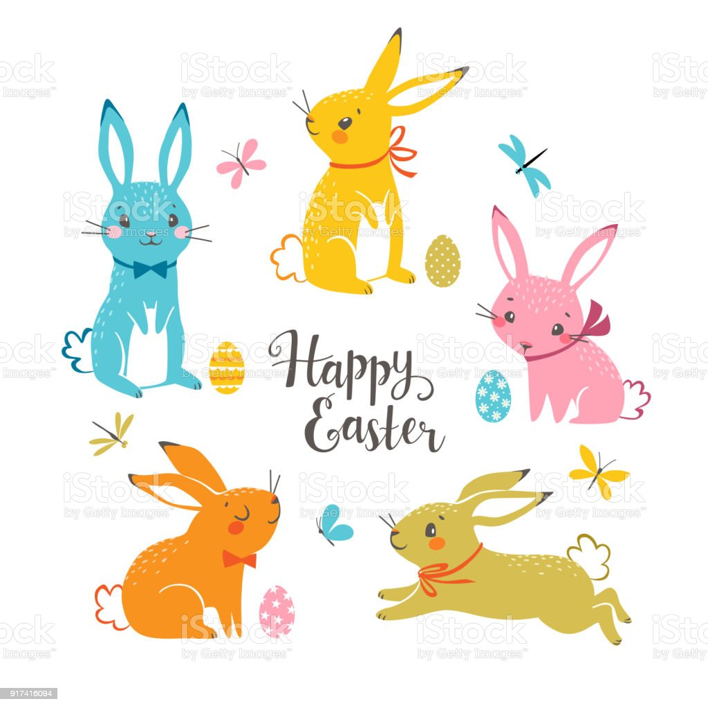 Cute multicolored Easter bunnies