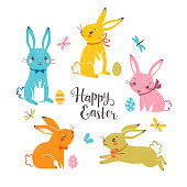 Set of cute colorful Easter bunnies, Easter eggs, butterflies, dragonflies and hand drawn text.