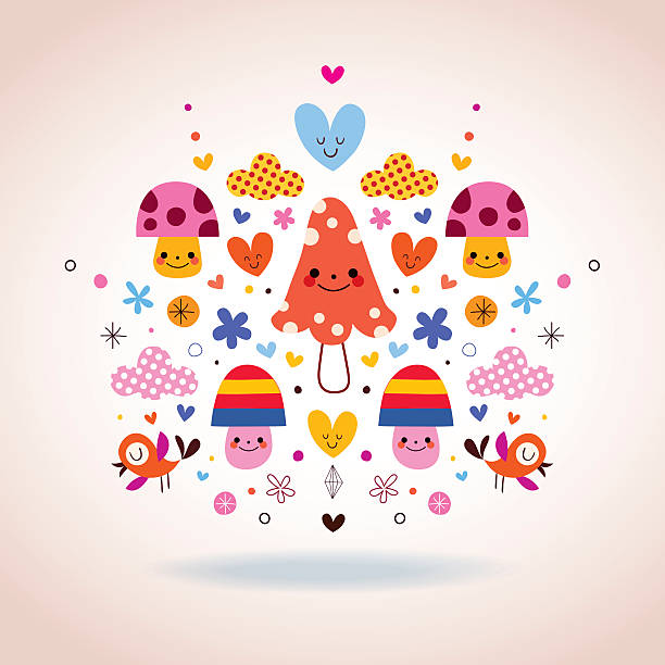 Cute Mushroom Characters Flowers Hearts Birds Stylized Nature Illustration Clip Art Vector Images Illustrations